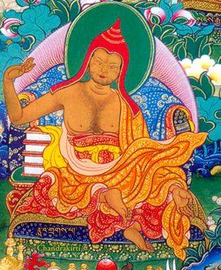 Traditional Tibetan portrait of Candrakīrti, taken from Rigpa Wiki.