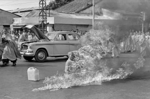 FILE - In this  June 11, 1963 file photo, one of a series taken by then AP Saigon correspondent Malcom Browne, Thich Quang Duc, a Buddhist monk, burns himself to death on a Saigon street to protest alleged persecution of Buddhists by the South Vietnamese government. Browne, acclaimed for his trenchant reporting of the Vietnam War and a photo of a Buddhist monk's suicide by fire that shocked the Kennedy White House into a critical policy re-evaluation, died Monday night, Aug. 27, 2012 at a hospital in New Hampshire, not far from his home in Thetford, Vt. He was 81. (AP Photo/Malcolm Browne)